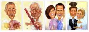 Karikaturen in Farbe - Bier-Genuss, Musik, Paare, Hochzeit