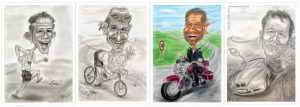 Karikaturen von Menschen in Bewegung
