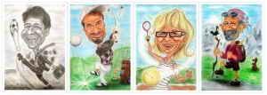 Karikaturen von sportlichen Menschen - Fussball, Golf, Tennis, Wandern
