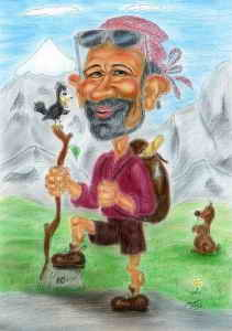 Wanderer in den Bergen - Farbkarikatur