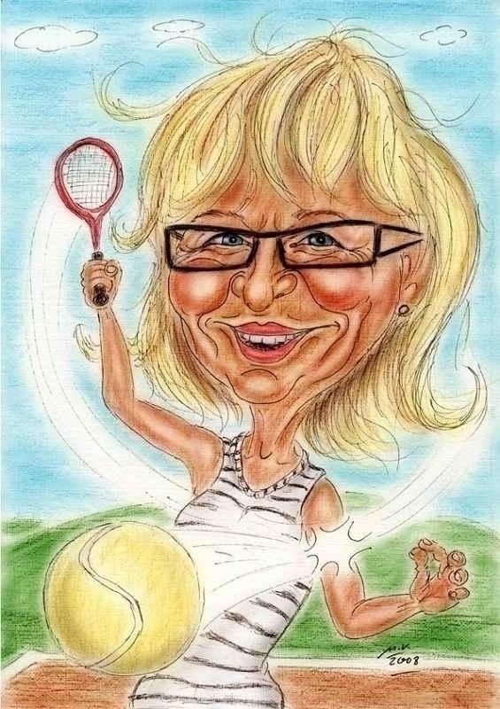 Tennisspielerin in Aktion - Karikatur als Geschenk zur Pensionierung