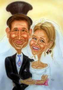 Hochzeitspaar - Karikatur in Farbe