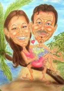 Paar auf Südseeinsel-Urlaub - Karikatur in Farbe