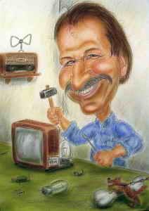Bastler repariert was im in die Finger kommt - Karikatur