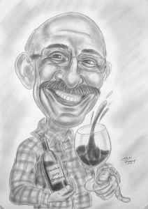 Bleistift-Karikatur eines Weintrinkers