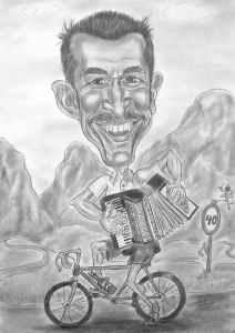 Radfahrer mit Ziehharmonika - Bleistiftkarikatur