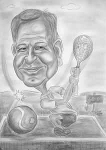 Tennisspieler - Geschenk-Karikatur zum Sechziger