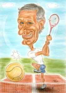 Pensionist beim Aufschlag am Tennisplatz