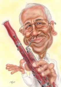 Fagott-Spieler - Karikatur in Farbe