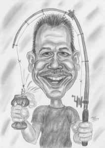 Fröhlicher Angler mit Bierdose als tollem Fang - Karikatur Bleistiftzeichnung
