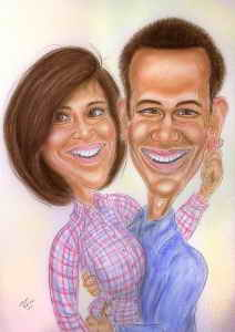 Verliebtes Paar - Farbkarikatur