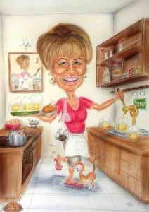 Frau Wirtin in der Küche beim Bier zapfen - Karikatur in Farbe