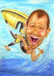 Wassersportler auf Jet-Ski - Farbkarikatur