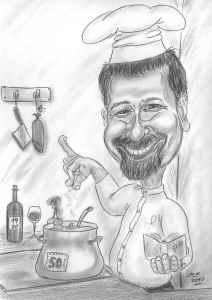 Koch salzt die Suppe - Karikaturen von Köchinnen und Köchen