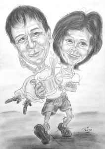 Paar in Tracht - Bleistiftkarikatur
