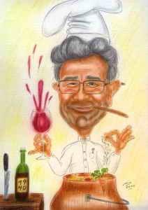 Pensionist als Hobbykoch - Karikatur in Farbe
