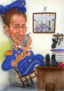 Karikatur eines Polizisten in Bereitschaft