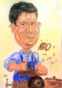Tischlermeister hobelt eine Bowlingkugel - Berufskarikatur