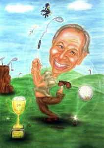 Farbkarikatur eines fröhlichen Golfspielers