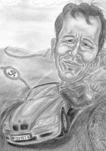 Karikatur - Cabriofahrer Bleistiftzeichnung