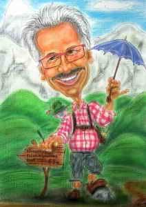 Ein Wanderer in Lederhose - Karikatur in Farbe