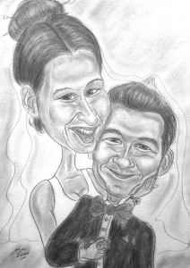 Paar in Bleistift als Karikatur gezeichnet