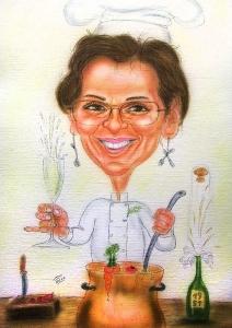Köchin mit Sektglas rührt die Suppe um - Karikatur in Farbe