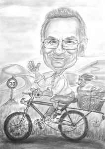 Radfahrer-Karikatur mit Bleistift gezeichnet