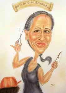 Geschenkidee - Karikatur einer Friseurmeisterin bei der Arbeit