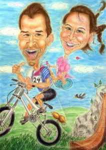 Paar auf dem Mountainbike - Farbkarikatur