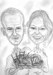Paar mit Hausrat - Bleistiftkarikatur