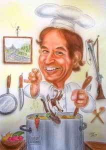 Koch-Karikatur in Farbe