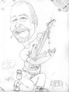 Karikatur - Vorzeichnung eines Gitarrenspielers