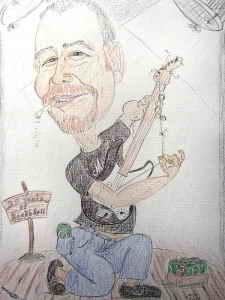Karikatur eines Gitarrenspielers in Farbe - Vorstufe der Zeichnung