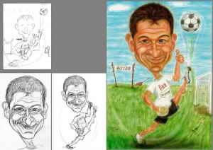 ÖBB-Fussballtrainer mit Bierglas - ein paar Bilder zur Entstehung - Farb-Karikatur