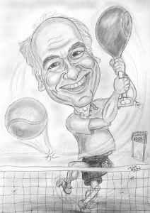Fleischer mit Schinken statt Tennisschläger auf dem Platz - Karikatur in schwarz-weiss