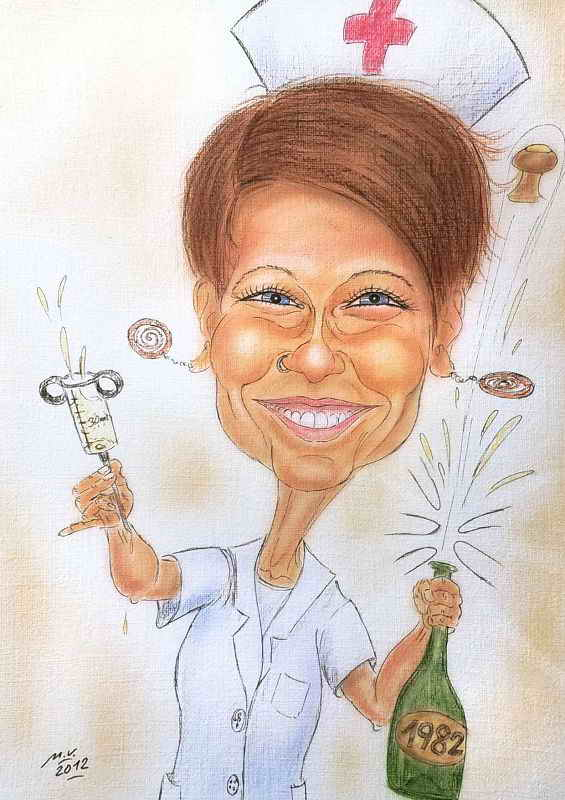 Karikatur in Farbe - Krankenschwester gönnt sich zum dreissigsten Geburtstag ein Glas Sekt