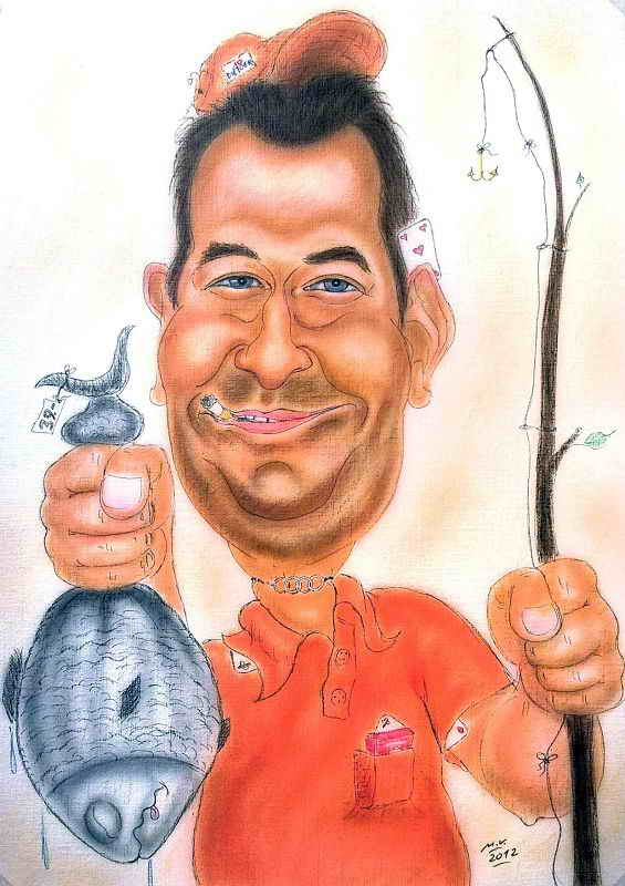Karikatur - Angler mit dickem Fisch