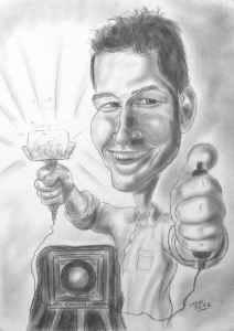 Berufsbild Fotograf mit Kamera - Karikatur