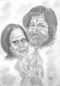Liebe ist schön - Bleistiftkarikatur