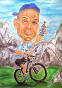 Radfahrer mit Bierflasche - Karikatur