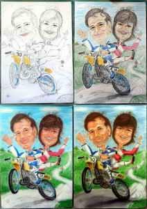 Entstehungsbilder der Farbkarikatur - Paar auf Motocross-Bike