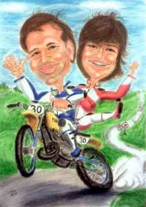 Paar auf Motocross-Bike - Karikaturen von Motorradfahrern