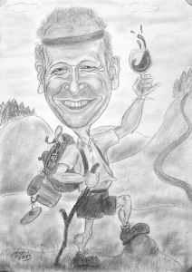 Naturbursche in den Bergen - Karikatur