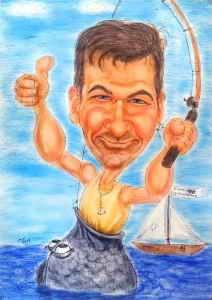 Angler-Latein - wer fing hier wen - Karikatur in Farbe