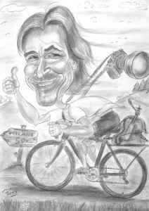 Fotograf auf Fahrrad - Blestift-Karikatur