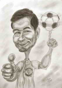Fussball-Kunststück - Karikatur mit Bleistift gezeichnet