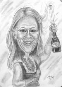 Sekt zum Geburtstag - Karikatur einer jungen Frau mit Sektglas und Flasche mit Jahrgang