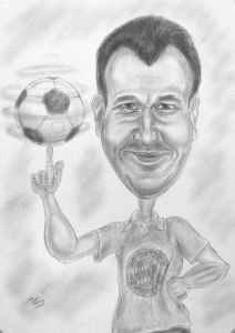 FC-Bayern Fan lässt den Ball tanzen - Bleistift-Karikatur