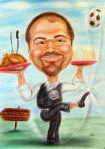 Kellner als Rapdifan - ein Kick mit dem Ball ist da ein Kinderspiel - Farb-Karikatur